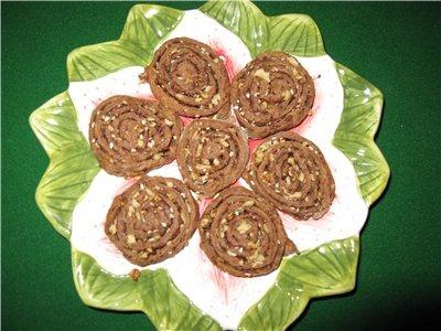 Шоколадное печенье с орешками, кунжутом и шоколадом
