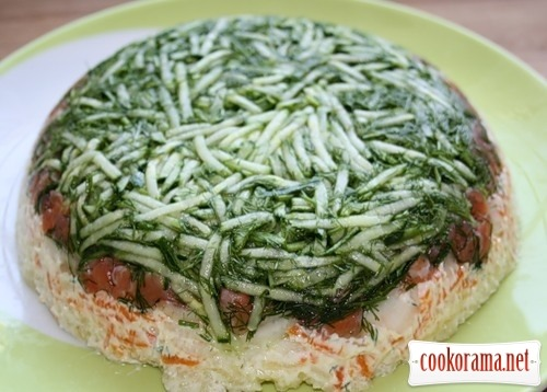 Layer salad with salmon