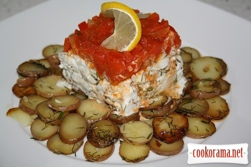 Cod with potatoes under the cap of sweet pepper (Bacalao con patata y pimiento rojo)