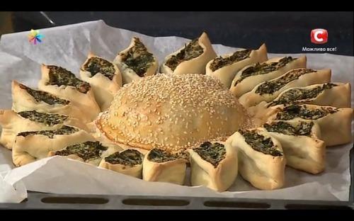 Пирог «Солнце» со шпинатом от Аллы Ковальчук