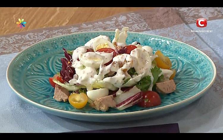 Салат з печінки тріски з натуральним йогуртом від Марини Шевченко