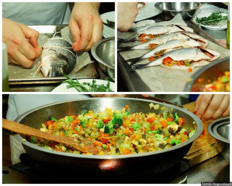 Дорадо фаршированное овощами с черноморскими рапанами