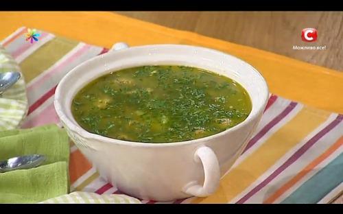 Легкий суп с фрикадельками из шпината от Ольги Сумской