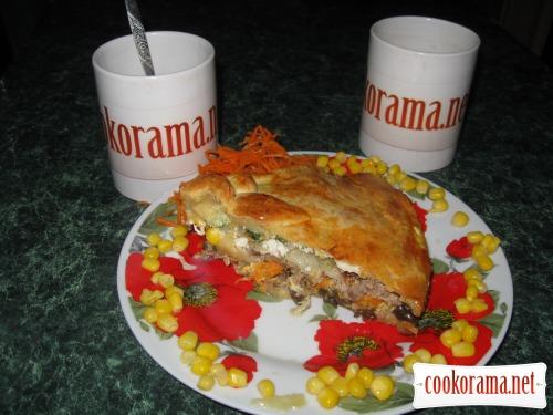 Пиріг з м'ясом та баклажанами