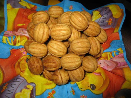 """Печенье """"Орешки"""" с заварным ореховым кремом"""