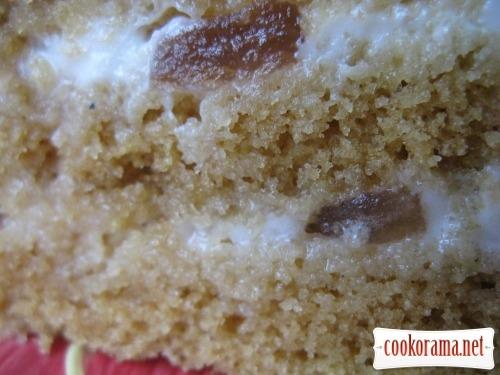 Торт-манник з мікрохвильовки з сметаним кремом і яблуками