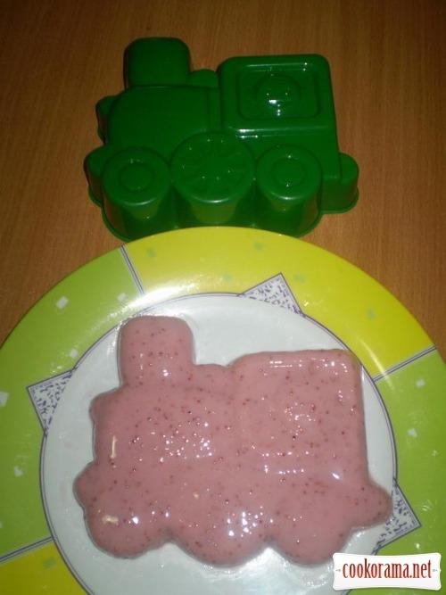 Полуничне десерт - желе «Поїзд» і «Вертоліт»