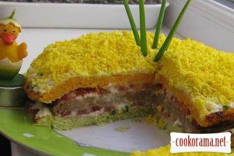 Овоще-печеночный торт