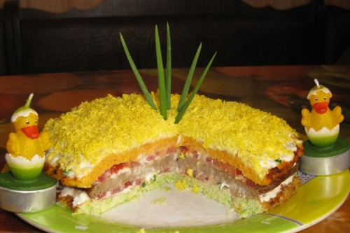 Овочево-печінковий торт