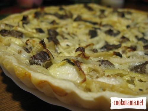 Эльзасский пирог - Фламмкухен с грибами