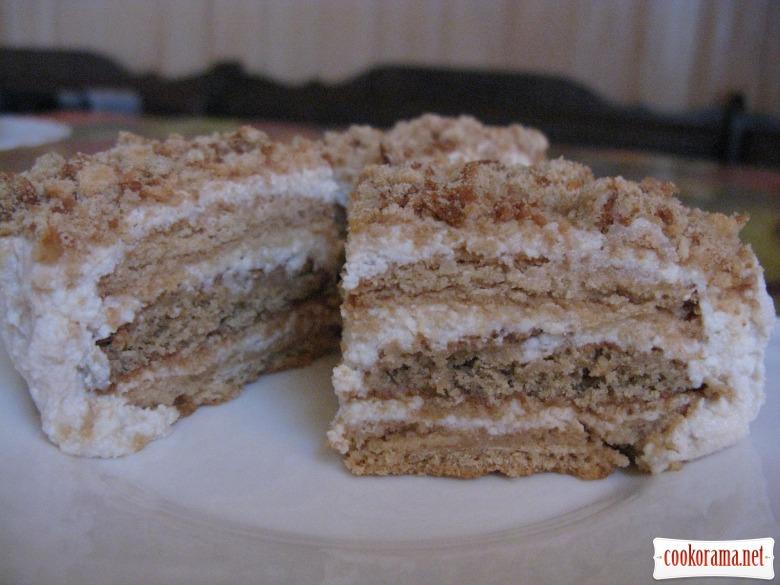 Творожный торт с печеньем, без выпечки