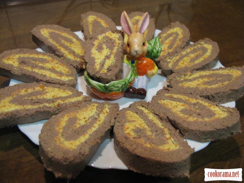 Печеночный паштет - рулет с начинкой