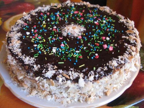 Бисквитный торт с сметанно-заварным кремом