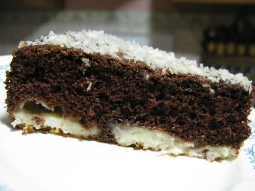 Chocolate cake with coconut-curd balls