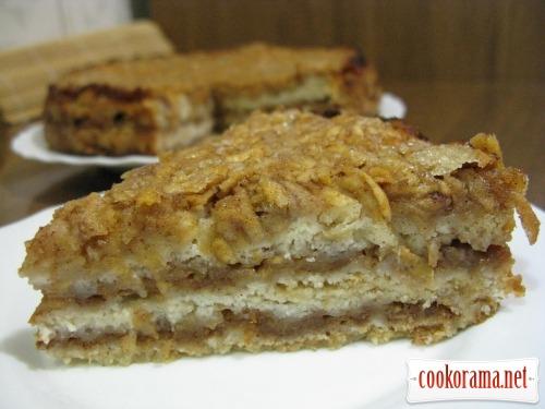 Необычный, насыпной яблочный пирог