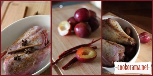 Duck legs with plums