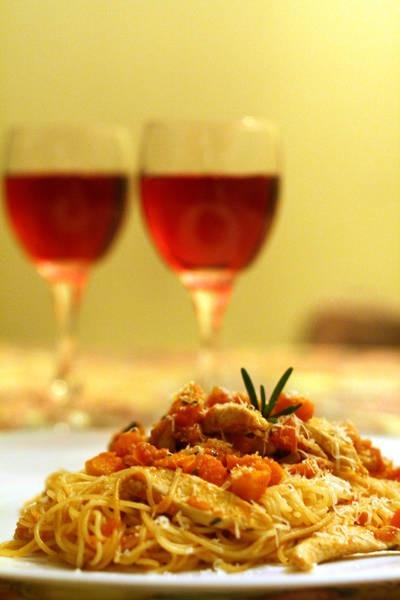 Pasta with pumpkin and chicken