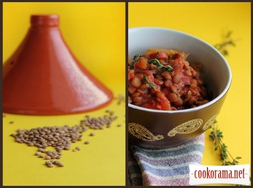 Рагу из чечевицы и колбасок