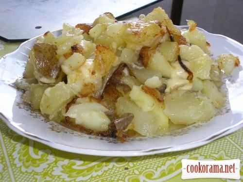 Картофель в мундирах жаренный с сыром