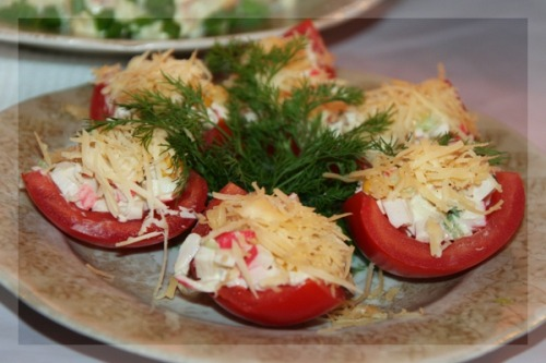 Stuffed tomato quarters