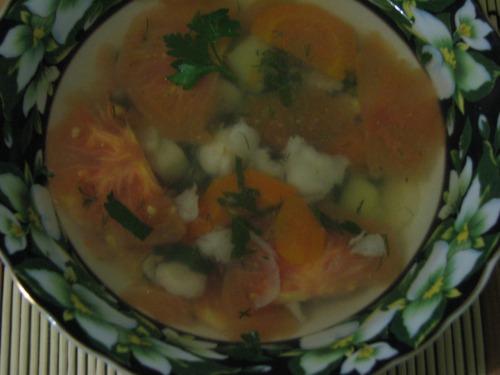 Уха с перцем и помидорами рецепт