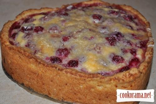 Сирний пиріг з малиною і білим шоколадом