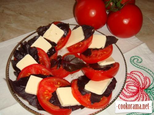 Летняя закуска «Томаты с плавленым сыром»