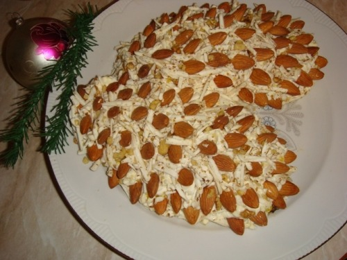 New Year`s salad «Pine cones»