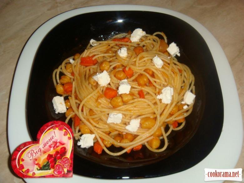 Спагетти с нутом и фетой а ля медитерана