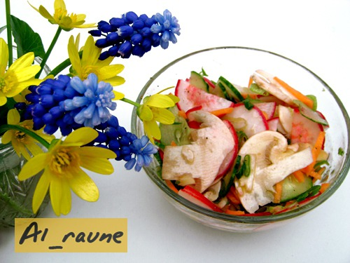 Spring vegetable salad with fresh champignons