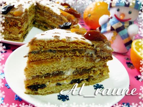 Медовик «Зимний сон» с вкуснейшей кремовой начинкой с сухофруктами!