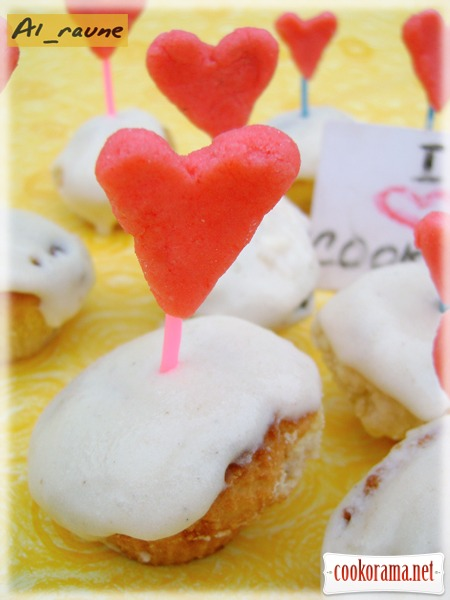 Cakes with white chocolate and rosemary... «Sweet valentine cards»!