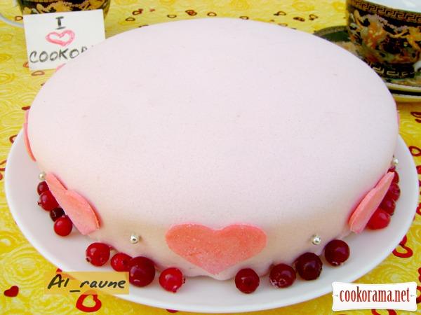 """Бисквитный торт с сердцем внутри """"I LOVE COOKORAMA""""!!!"""