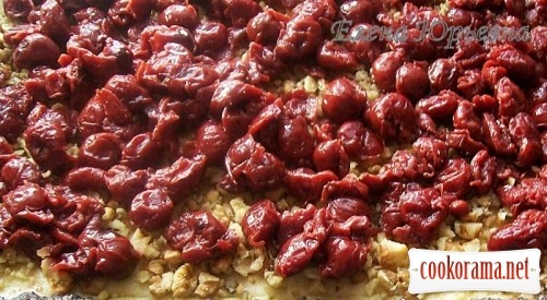 Пляцок з горіхами вишнями та маком