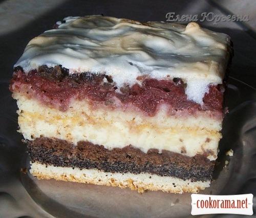 торт українська вишиванка з вишнями і маком рецепт