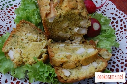 Green snack bread with chicken