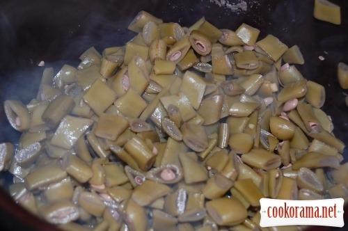 Asparagus beans + honey mushrooms in sour cream