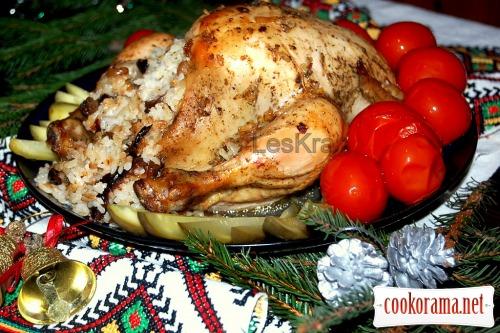 Різдвяна курка з сухофруктами в лимонно-медовій глазурі