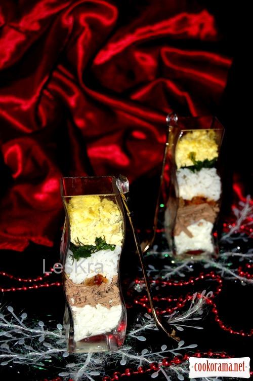 Салат з рисом і печінкою «Смугастий»