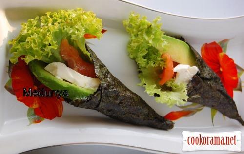 Temaki sushi or hand rolls