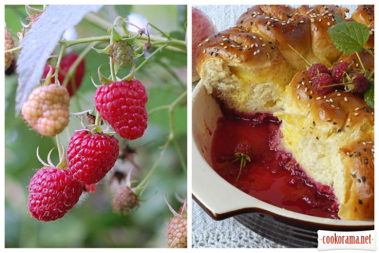 Buns with custard on raspberry-apple basis