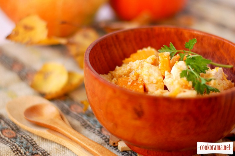 Wheat porridge with pumpkin and chicken