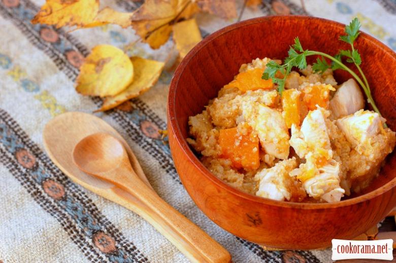 Wheat porridge with pumpkin and chicken
