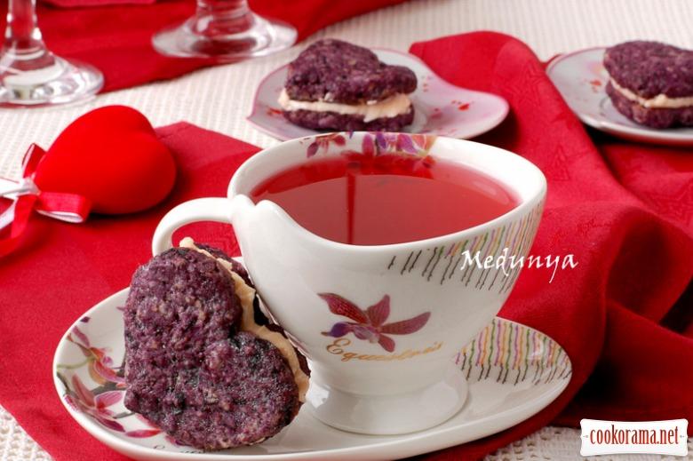 Печиво «Чорнично-горіхові сердечка»
