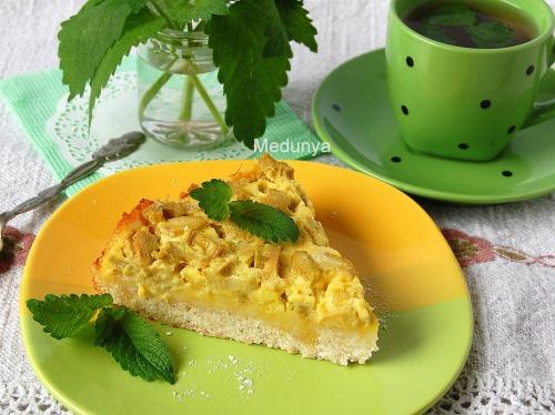Ревеневий насипний і заливний пиріг