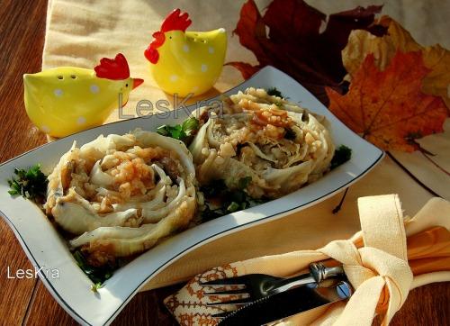 Пекінська капуста, фарширована грибами