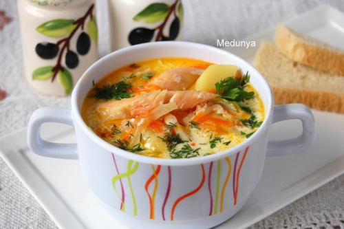 Creamy soup with salmon