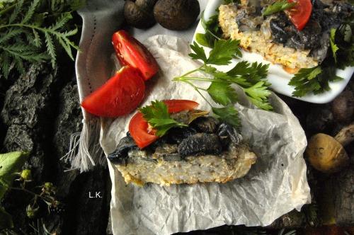 Рисово-мясная запеканка в грибной заливке