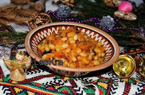 Квашеная капуста с фасолью (товчинка)