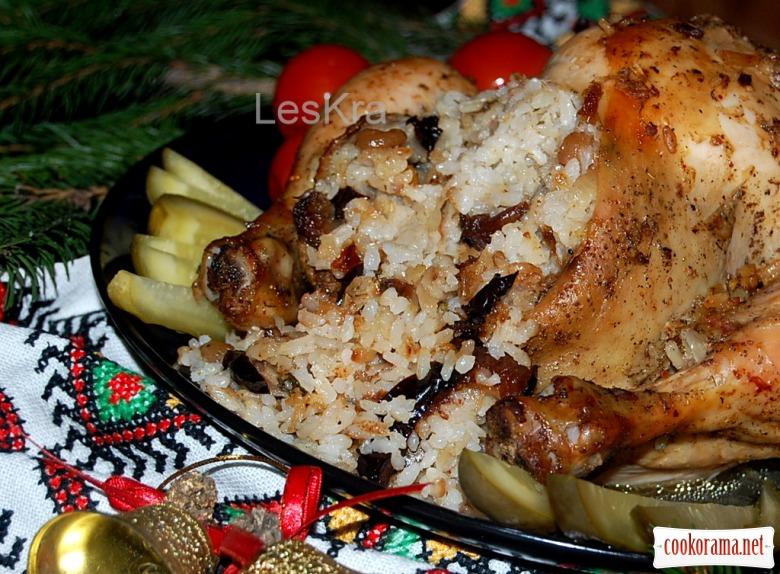 Рождественская курица с сухофруктами в лимонно-медовой глазури